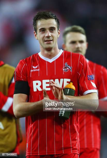 Lukas Kluenter of FC Koeln shows appreciation to the fans after the UEFA Europa League group H match between 1 FC Koeln and Arsenal FC at...