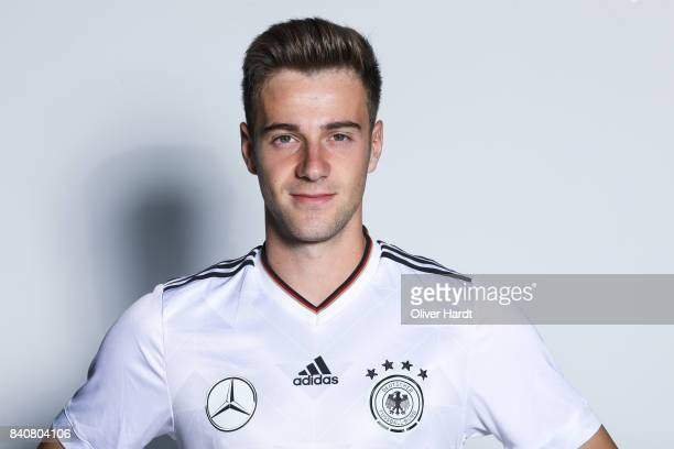 Lukas Kluenter of Germany poses for the Germany U21 Team Presentation on August 29 2017 in Harsewinkel Germany