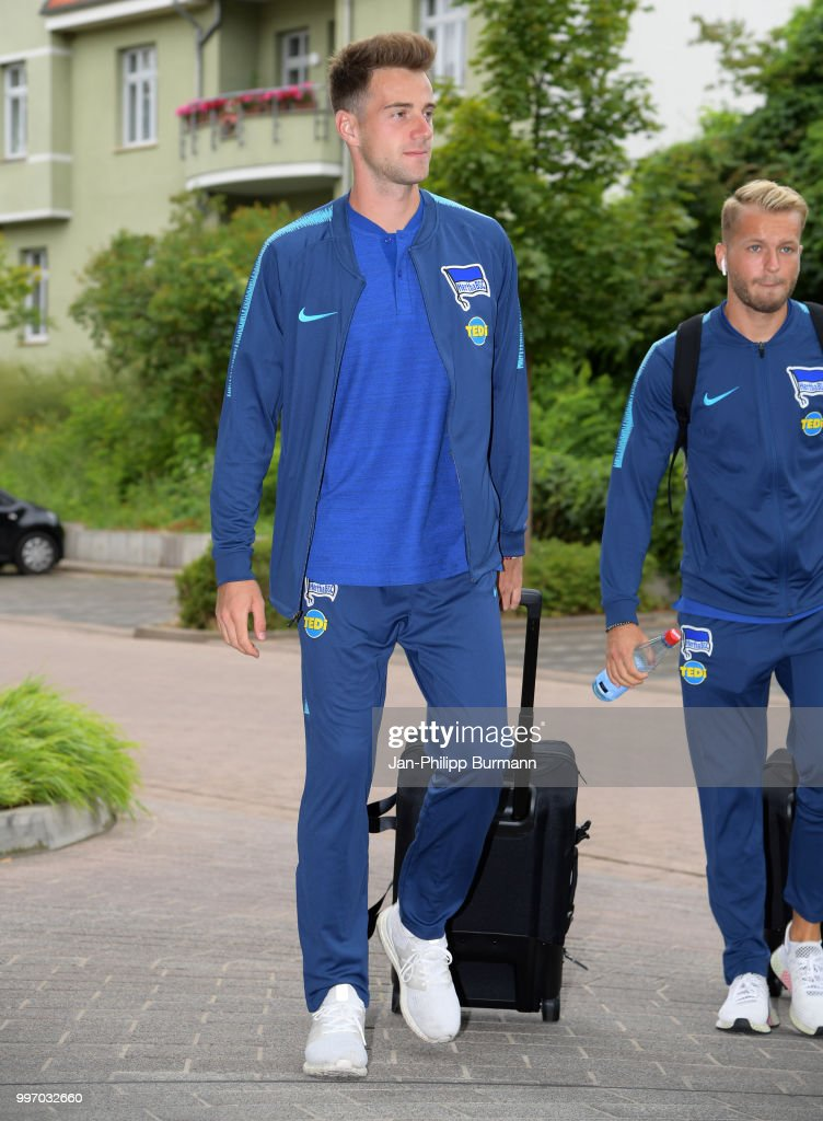 Lukas Kluenter of Hertha BSC during a training camp on July 12, 2018 in Neuruppin, Germany.