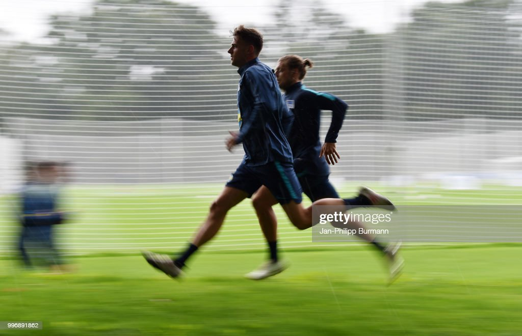 Lukas Kluenter of Hertha BSC during the training at the Schenkendorfplatz on July 12, 2018 in Berlin, Germany.