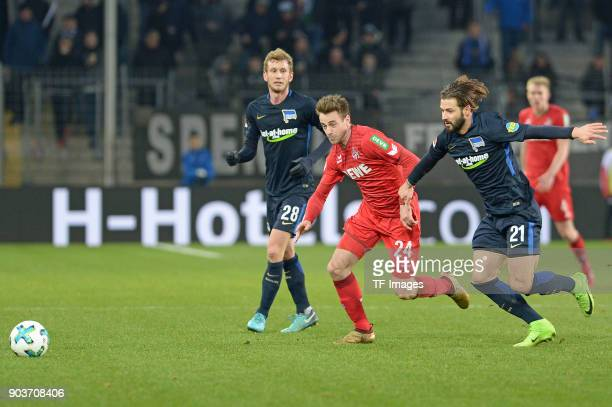Lukas Kluenter of Koeln and Marvin Plattenhardt of Hertha battle for the ball during the HHotelscom Wintercup match between Hertha BSC and 1 FC Koeln...
