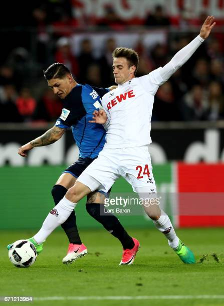 Lukas Kluenter of Koeln and Steven Zuber of Hoffenheim battle for the ball during the Bundesliga match between 1 FC Koeln and TSG 1899 Hoffenheim at...