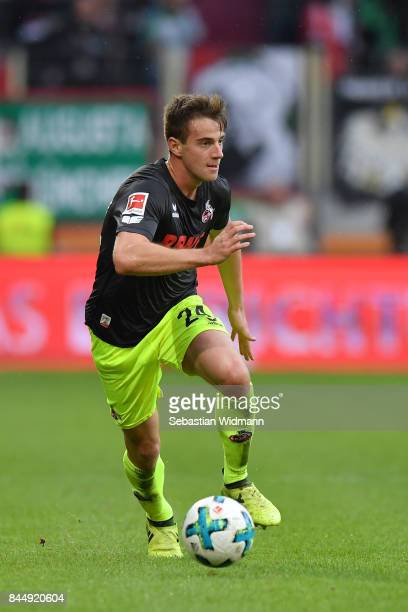 Lukas Kluenter of Koeln plays the ball during the Bundesliga match between FC Augsburg and 1 FC Koeln at WWKArena on September 9 2017 in Augsburg...