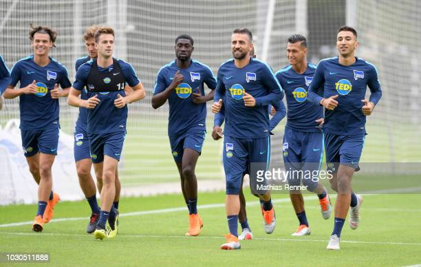 Lukas Kluenter Vedad Ibisevic and Marko Grujic of Hertha BSC during the training at the Schenkendorfplatz on september 10 2018 in Berlin Germany