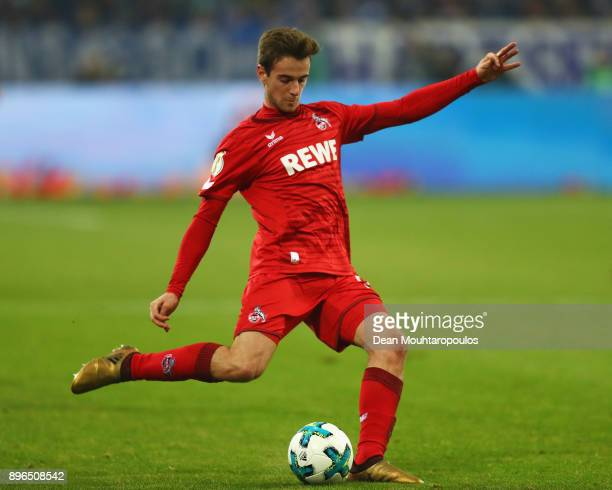 Lukas Klunter of FC Koeln in action during the DFB Pokal match between FC Schalke 04 and 1 FC Koeln at VeltinsArena on December 19 2017 in...