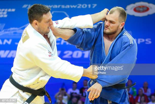 Lukas Krpalek Maciej Sarnacki during the men's over 100kg competition during the European Judo Championship in Warsaw Poland on April 21 2017