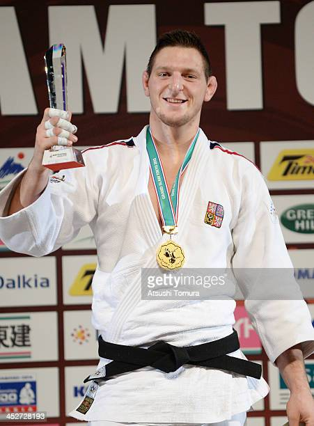 Lukas Krpalek of Czech Republic stands on the podium at the men's 100kg medal ceremony during day three of the Judo Grand Slam at the on December 1...
