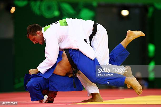 Lukas Krpalek of the Czech Republic and Cyrille Maret of France compete in the Men's Judo 100kg semi finals on day fifteen of the Baku 2015 European...