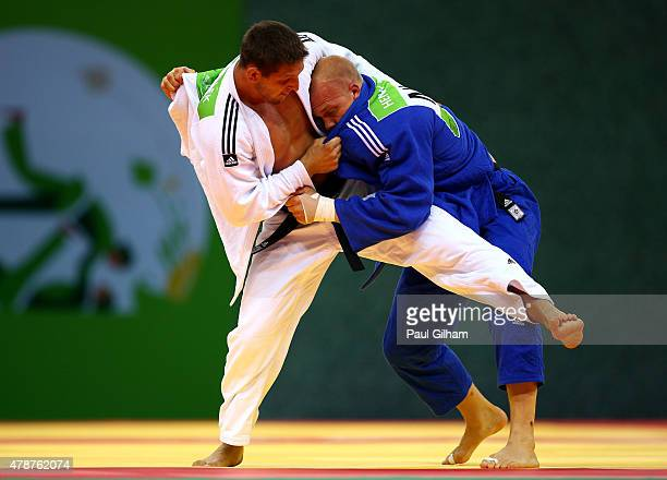 Lukas Krpalek of the Czech Republic and Henk Grol of the Netherlands compete during the Men's Judo 100kg gold medal final during day fifteen of the...