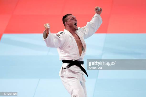 Lukas Krpalek of the Czech Republic celebrates his victory over Kim Minjong of South Korea in the Men's 100kg on day seven of the World Judo...