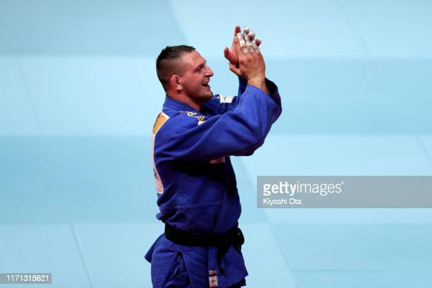 Lukas Krpalek of the Czech Republic celebrates winning over Hisayoshi Harasawa of Japan in the Men's 100kg final on day seven of the World Judo...