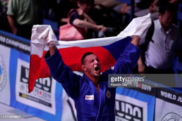 Lukas Krpalek of the Czech Republic celebrates winning over Hisayoshi Harasawa of Japan in the Men's +100kg final on day seven of the World Judo...