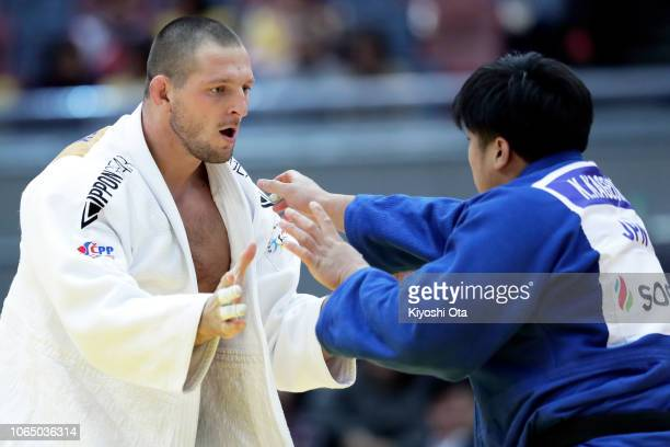 Lukas Krpalek of the Czech Republic competes against Kokoro Kageura of Japan in the Men's 100kg semifinal match on day three of the Grand Slam Osaka...
