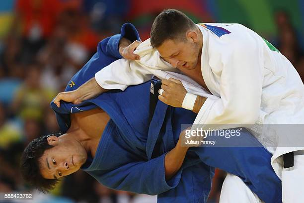 Lukas Krpalek of the Czech Republic competes against Ryunosuke Haga of Japan during the men's 100kg elimination round judo contest on Day 6 of the...