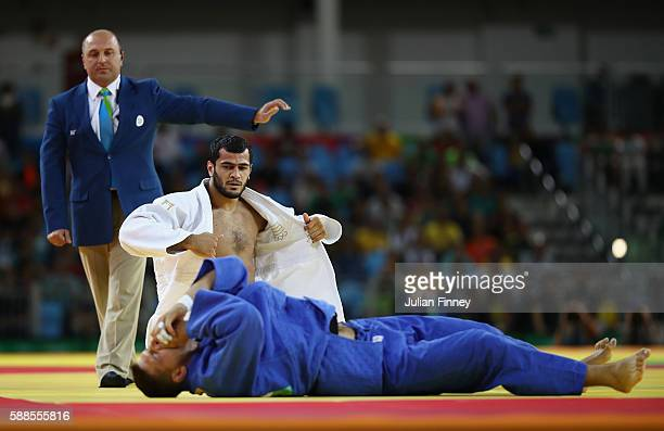Lukas Krpalek of the Czech Republic competes with Elmar Gasimov of Azerbaijan during the men's 100kg gold medal judo contest on Day 6 of the 2016 Rio...