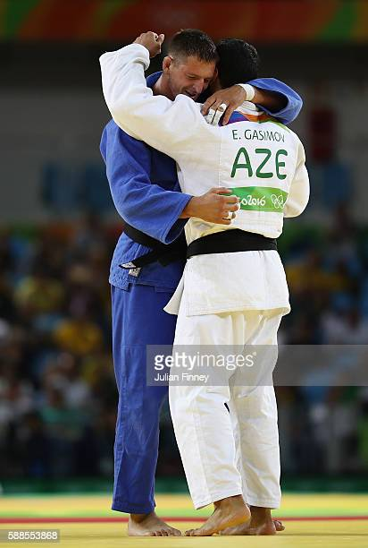 Lukas Krpalek of the Czech Republic consols Elmar Gasimov of Azerbaijan during the men's 100kg gold medal judo contest on Day 6 of the 2016 Rio...