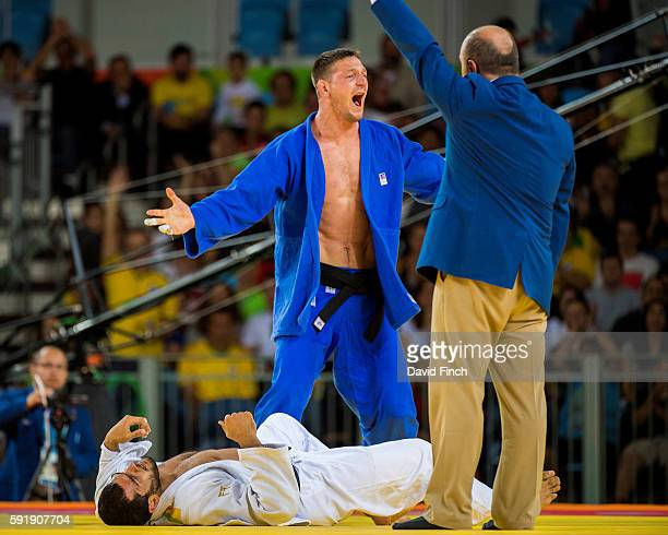 Lukas Krpalek of the Czech Republic defeated Elmar Gasimov of Azerbaijan for the u100kg gold medal during day 6 of the 2016 Rio Olympic Judo on...