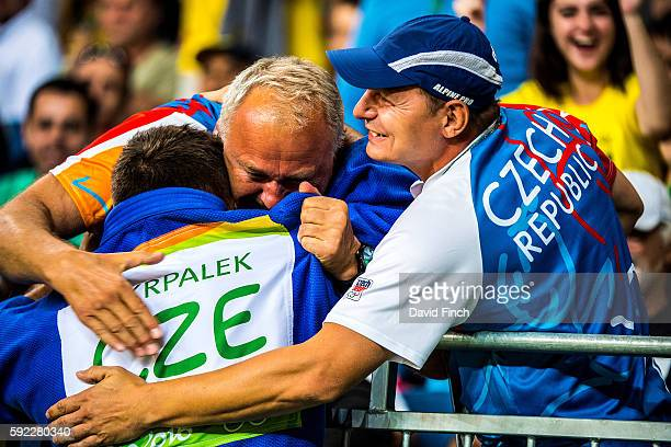 Lukas Krpalek of the Czech Republic receives the congratulations of his fans as he leaves the mat after defeating Cyrille Maret of France day 6 of...