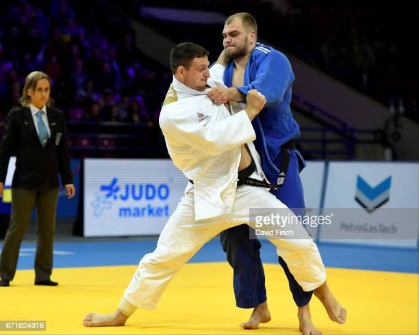Lukas Krpalek of the Czech Republic throws Maciej Sarnacki of Poland for an ippon to win the o100kg bronze medal during the 2017 Warsaw European Judo...