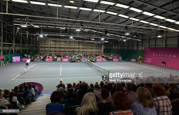 Lukas Lacko of Slovakia and Luca Vanni of Italy in action during the singles final of The Glasgow Trophy at Scotstoun Leisure Centre on May 6 2018 in...