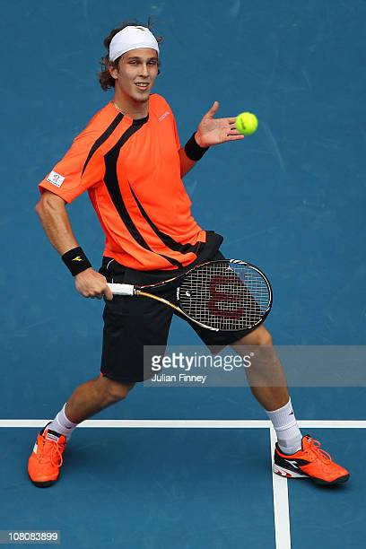 Lukas Lacko of Slovakia during his first round match against Roger Federer of Switzerland during day one of the 2011 Australian Open at Melbourne...