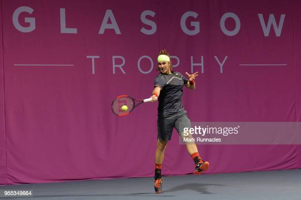 Lukas Lacko of Slovakia in action as he takes on Luca Vanni of Italy in the singles final of The Glasgow Trophy at Scotstoun Leisure Centre on May 6...