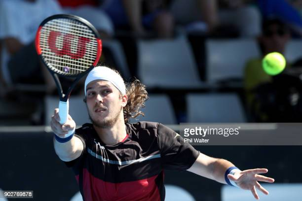 Lukas Lacko of Slovakia plays a forehand in his first round match against Stefanos Tsitsipas of Greece during day two of the ASB Men's Classic at ASB...