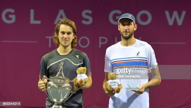 Lukas Lacko of Slovakia poses with the trophy after beating Luca Vanni of Italy in the singles final of The Glasgow Trophy at Scotstoun Leisure...