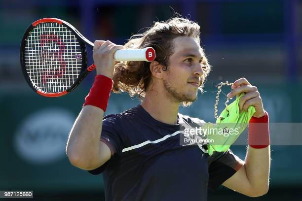 Lukas Lacko of Slovakia reacts to winning his semifinal match against Marco Cecchinato of Italy on day eight of the Nature Valley International at...