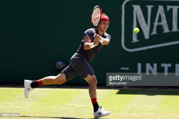 Lukas Laco of Slovakia in action during his match against Diego Schwartzman of Argentina on day six of the Nature Valley International at Devonshire...