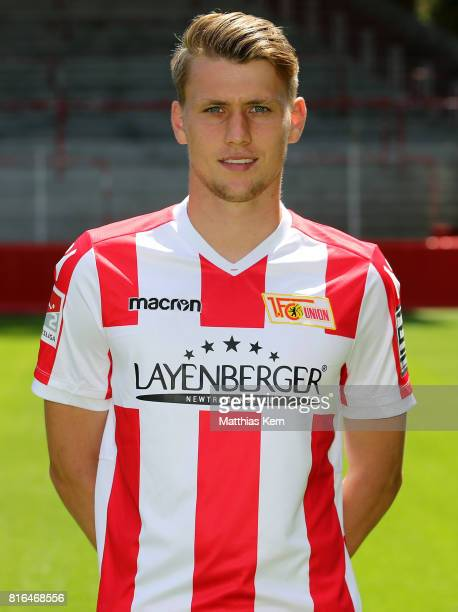 Lukas Laemmel of 1 FC Union Berlin poses during the team presentation at Stadion an der Alten Foersterei on July 17 2017 in Berlin Germany