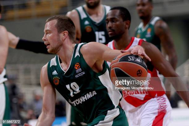 Lukas Lekavicius #19 of Panathinaikos Superfoods Athens in action during the 2017/2018 Turkish Airlines EuroLeague Regular Season Round 22 game...