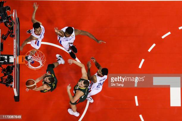 Lukas Lekavicius of Lithuania drives during 2nd round Group L match between Dominican Republic and Lithuania of 2019 FIBA World Cup at Nanjing Youth...
