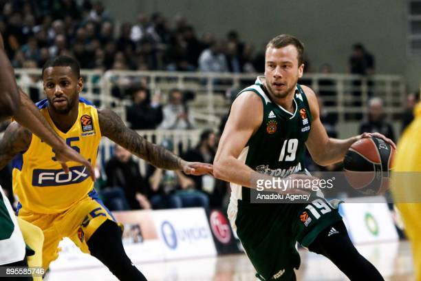 Lukas Lekavicius of Panathinaikos Superfoods Athens in action against Jake Cohen of Maccabi Fox Tel Aviv during the Turkish Airlines Euroleague...