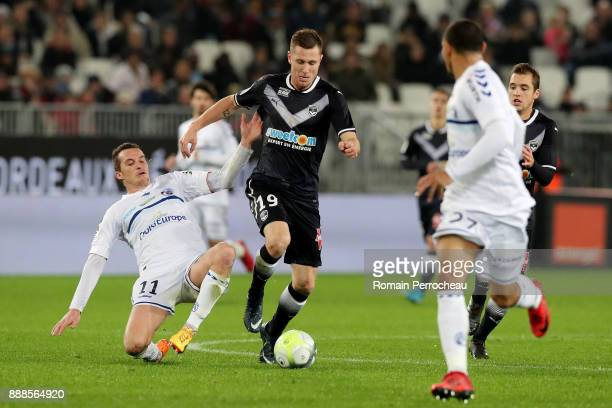 Lukas Lerager of Bordeaux in action during the Ligue 1 match between FC Girondins de Bordeaux and Strasbourg at Stade Matmut Atlantique on December 8...