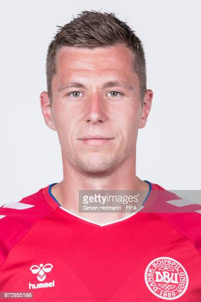 Lukas Lerager of Denmark poses during official FIFA World Cup 2018 portrait session on June 12 2018 in Anapa Russia