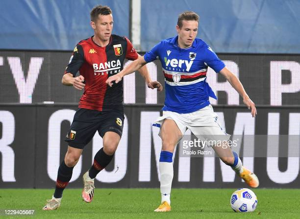 Lukas Lerager of Genoa CFC and Jakub Jankto of UC Sampdoria during the Serie A match between UC Sampdoria and Genoa CFC at Stadio Luigi Ferraris on...