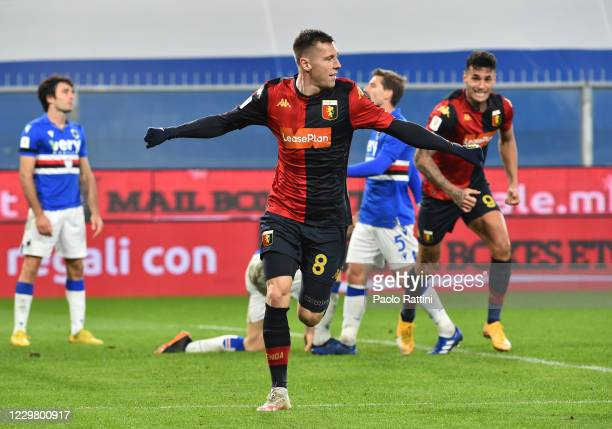 Lukas Lerager of Genoa CFC celebrates after scoring third goal during the Coppa Italia match between UC Sampdoria and Genoa CFC at Stadio Luigi...