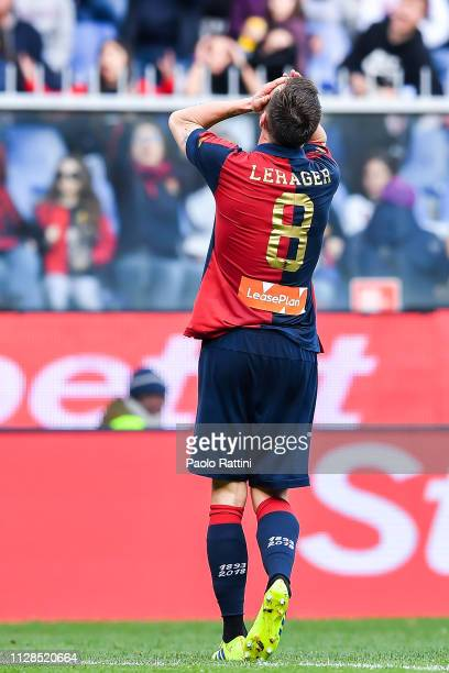 Lukas Lerager of Genoa reacts with disappointment during the Serie A match between Genoa CFC and Frosinone Calcio at Stadio Luigi Ferraris on March 3...