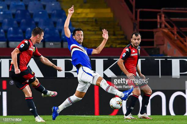 Lukas Lerager of Genoa scores a goal during the Serie A match between UC Sampdoria and Genoa CFC at Stadio Luigi Ferraris on July 22, 2020 in Genoa,...