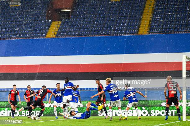 Lukas Lerager of Genoa scores a goal which will be disallowed during the Serie A match between UC Sampdoria and Genoa CFC at Stadio Luigi Ferraris on...