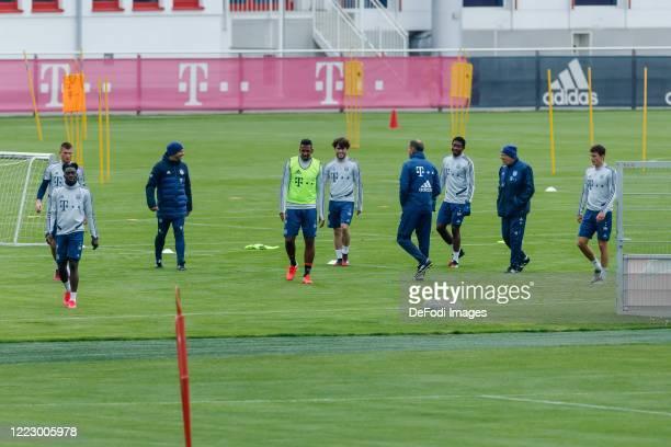 Lukas Mai of Bayern Muenchen Alphonso Davies of Bayern Muenchen head coach Hansi Flick of Bayern Muenchen Jerome Boateng of Bayern Muenchen Alvaro...