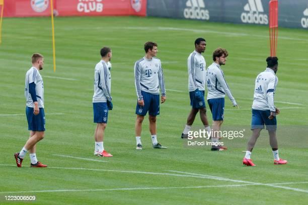 Lukas Mai of Bayern Muenchen Lucas Hernandez of Bayern Muenchen Benjamin Pavard of Bayern Muenchen David Alaba of Bayern Muenchen Alvaro Odriozola of...