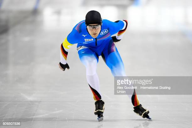 Lukas Mann of Germany performs in the men's 3000 meter final during the ISU Junior World Cup Speed Skating event at Utah Olympic Oval on March 2 2018...