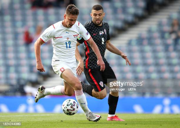 Lukas Masopust of Czech Republic battles for possession with Mateo Kovacic of Croatia during the UEFA Euro 2020 Championship Group D match between...