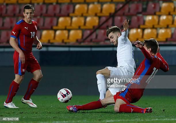 Lukas Masopust of Czech Republic battles for the ball with Luke Garbutt of England during the international friendly match between U21 Czech Republic...