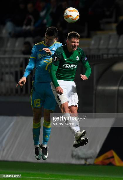 Lukas Masopust of FK Jablonec nad Nisou vies for the ball with Abzal Beysebekov of FC Astana during the UEFA Europe League Group K football match...