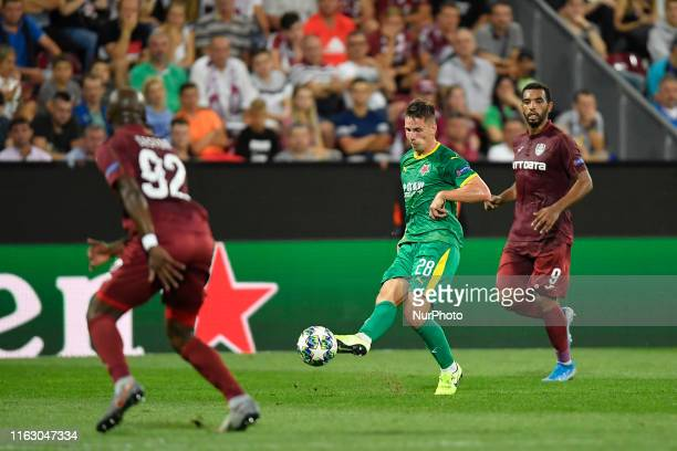 Lukas Masopust of SK Slavia Praga in action against Billel Omrani of CFR Cluj during UEFA Champions League 2019/2020 PlayOffs 1st leg between CFR...