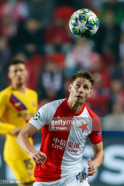 Lukas Masopust of Slavia Praha controls the ball during the UEFA Champions League group F match between Slavia Praha and FC Barcelona at Eden Stadium...