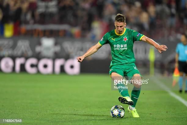 Lukas Masopust of Slavia Praha during UEFA Champions League 2019/2020 PlayOffs 1st leg between CFR Cluj and SK Slavia Praha on 20 August 2019 at...